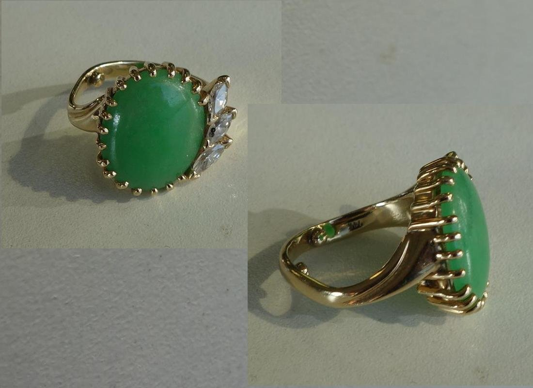 Chinese Jadeite Jade & Marquise Diamond Ring