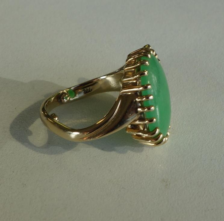 Chinese Jadeite Jade & Marquise Diamond Ring - 3