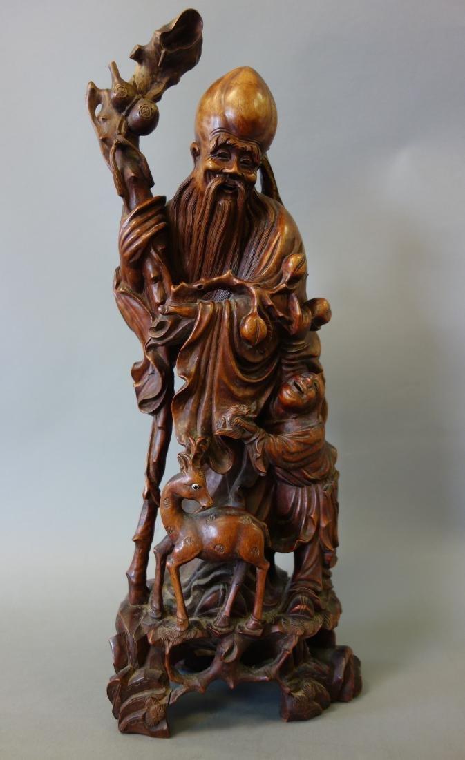 Chinese Hardwood Figure of the God of Longevity