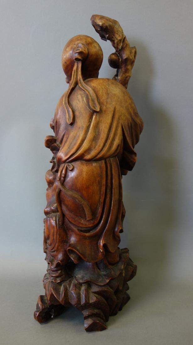 Chinese Hardwood Figure of the God of Longevity - 3