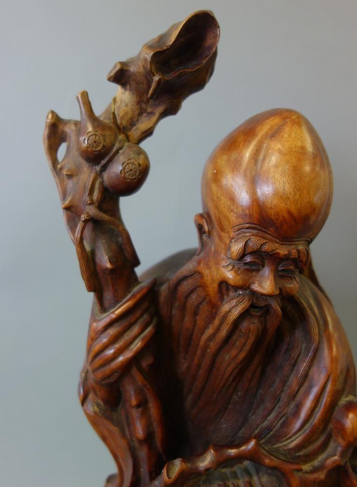 Chinese Hardwood Figure of the God of Longevity - 4