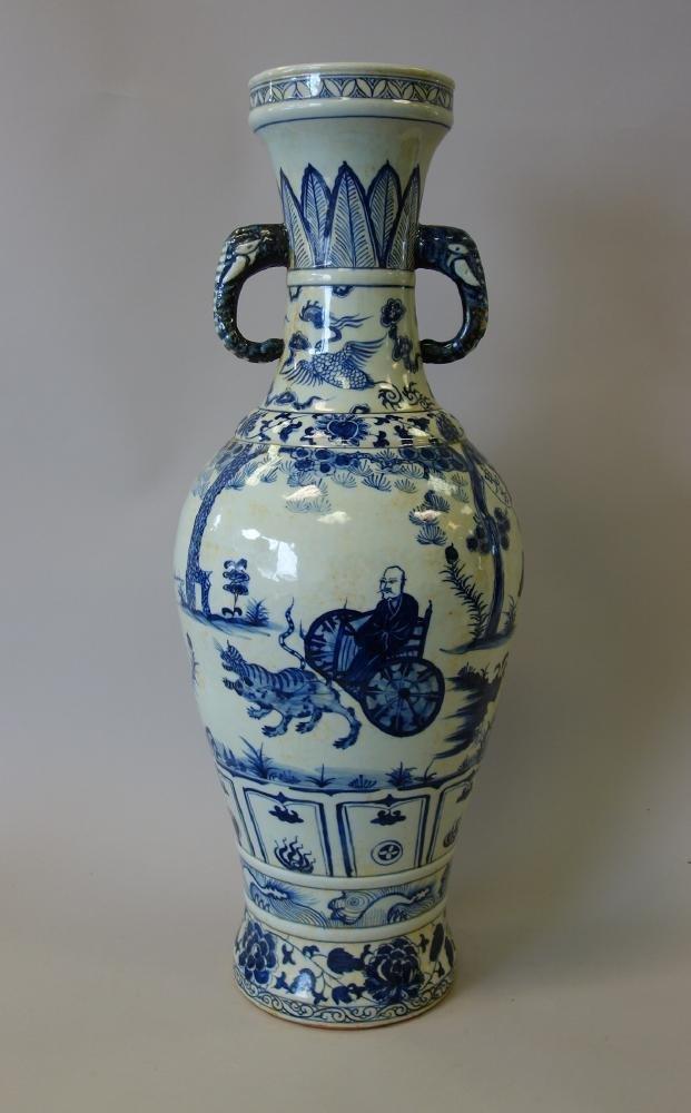 Tall Antique Chinese Porcelain Vase Elephant Hndls