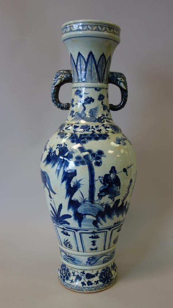 Tall Antique Chinese Porcelain Vase Elephant Hndls - 4