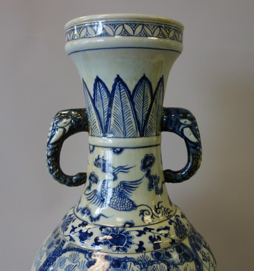 Tall Antique Chinese Porcelain Vase Elephant Hndls - 8