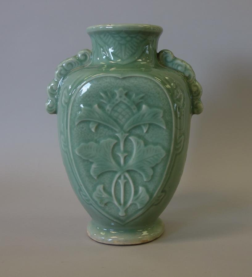 Chinese Celadon Porcelain Vase, Longquan Style