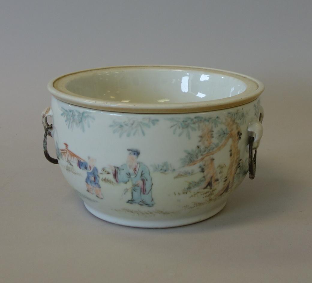 19thc Chinese Porcelain Enameled Warming Bowl, Signed