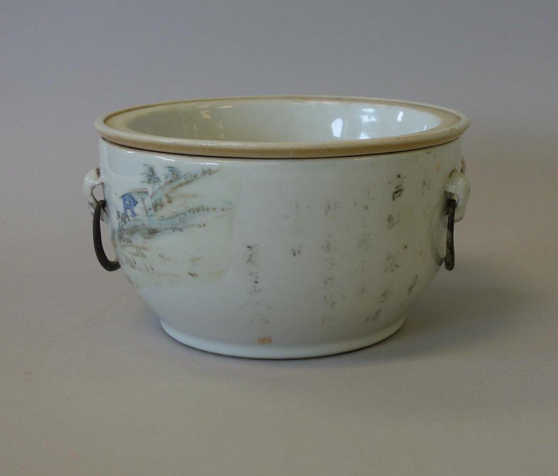 19thc Chinese Porcelain Enameled Warming Bowl, Signed - 2