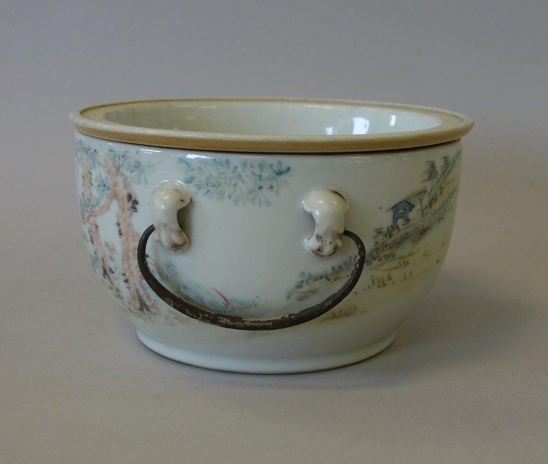 19thc Chinese Porcelain Enameled Warming Bowl, Signed - 3