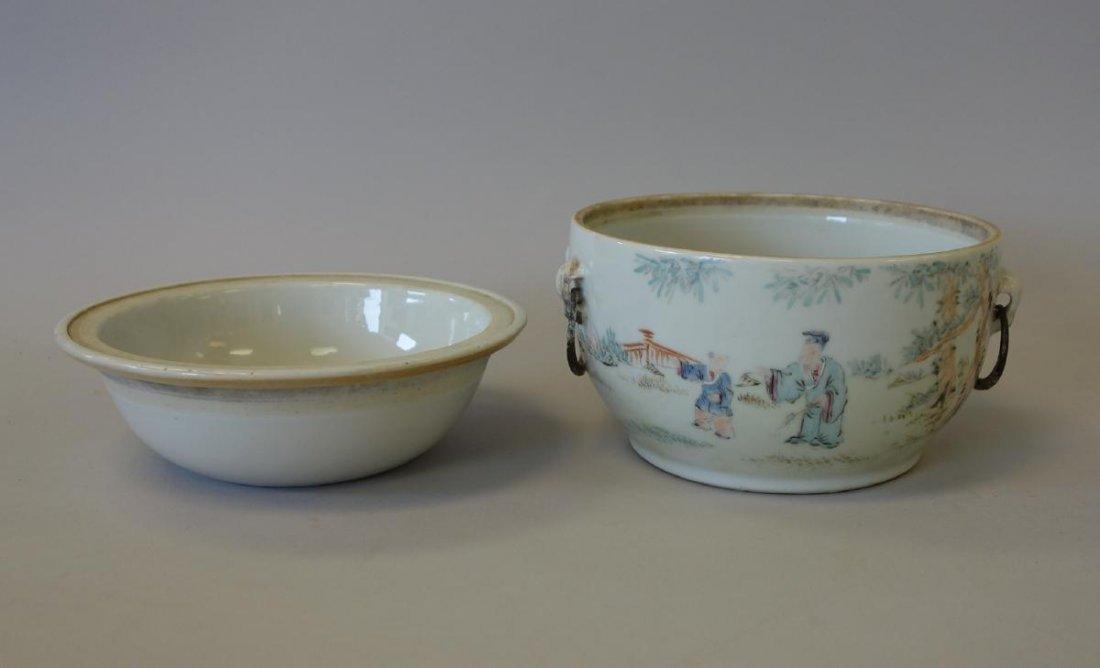 19thc Chinese Porcelain Enameled Warming Bowl, Signed - 4