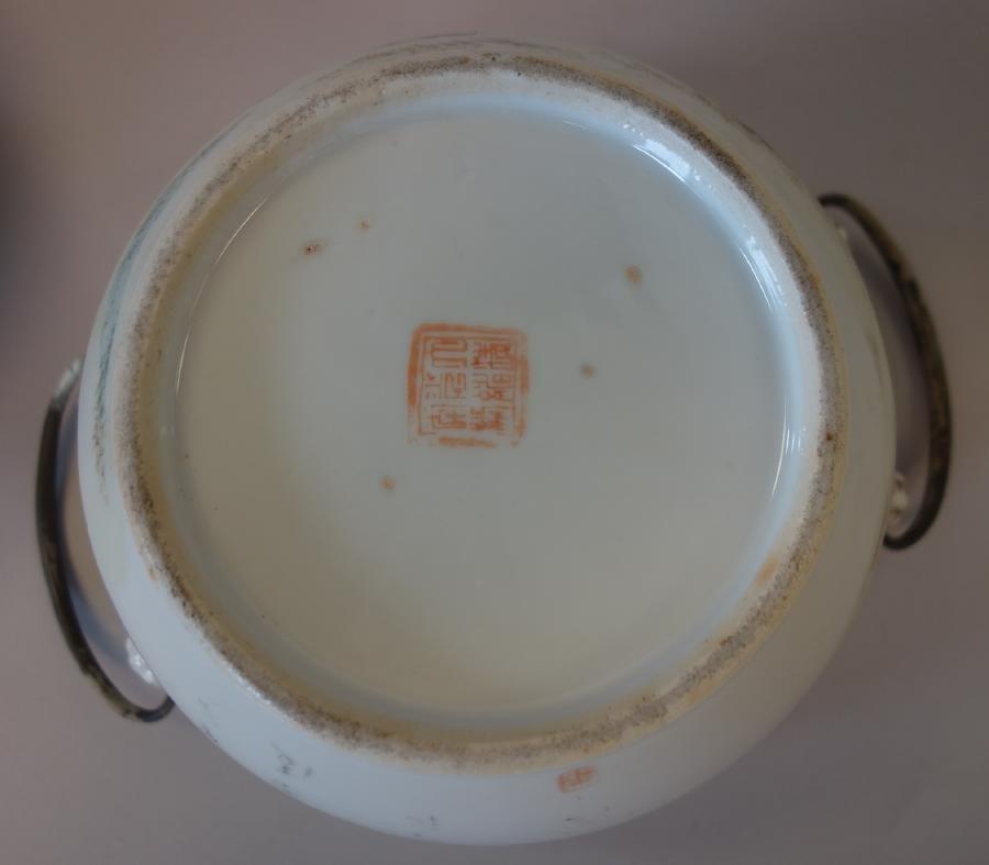 19thc Chinese Porcelain Enameled Warming Bowl, Signed - 5