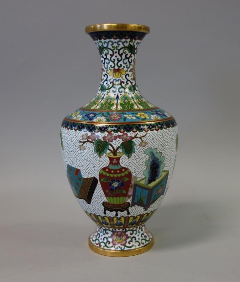 Chinese Cloisonne Enamel Baluster Formed Vase