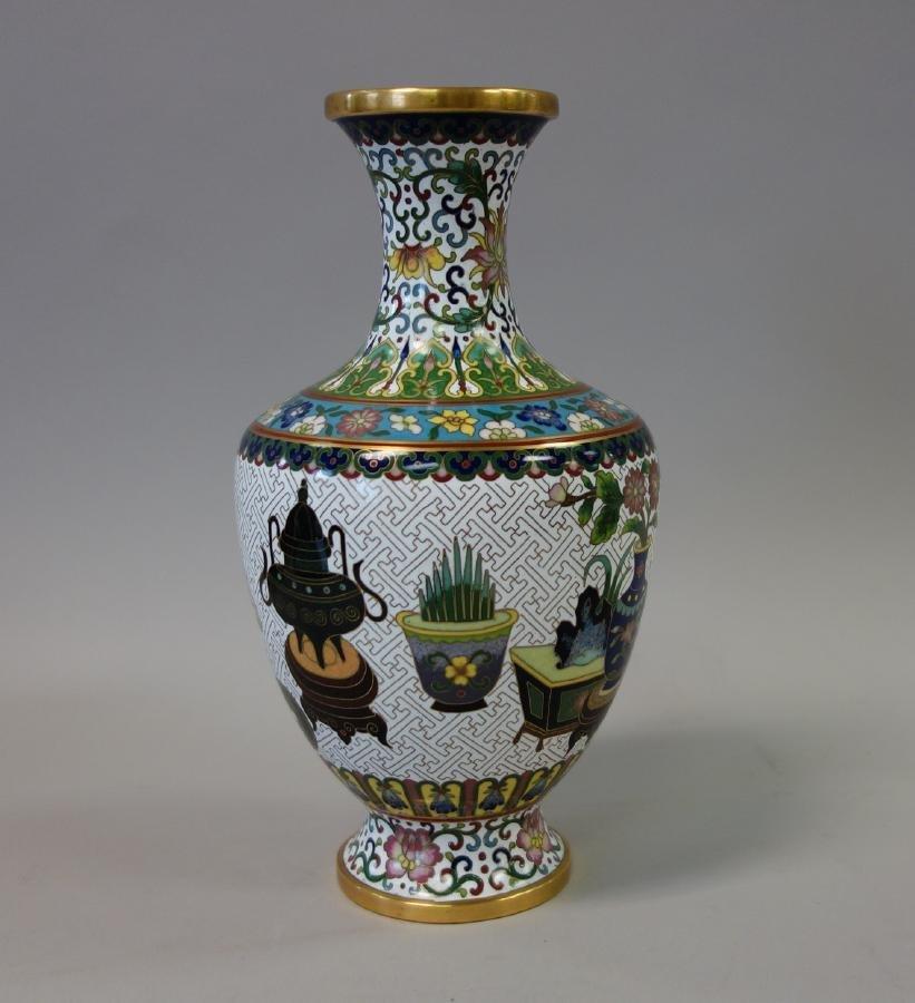 Chinese Cloisonne Enamel Baluster Formed Vase - 2