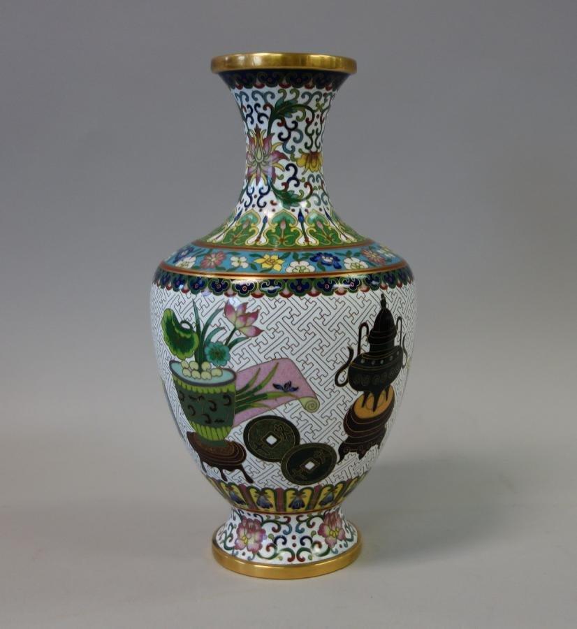 Chinese Cloisonne Enamel Baluster Formed Vase - 3