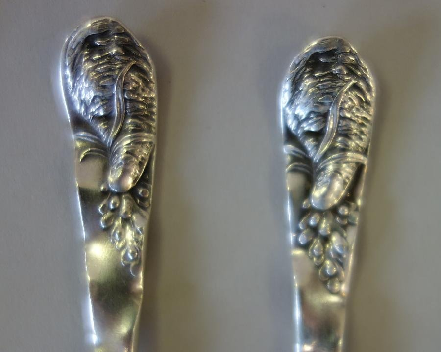 Whiting Mfg Sterling Cocktail Forks, Starfish Pattern - 3
