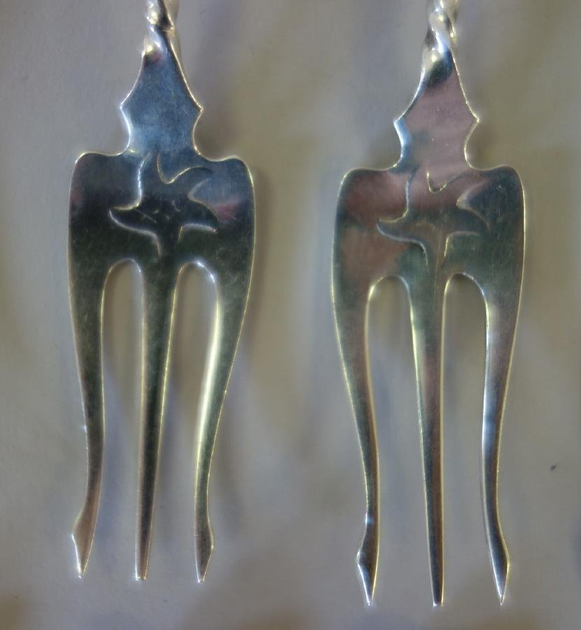 Whiting Mfg Sterling Cocktail Forks, Starfish Pattern - 4
