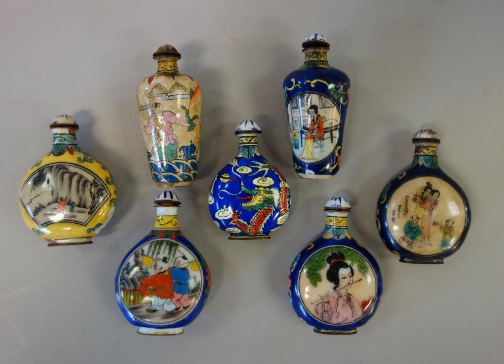 7 Chinese Enamel over Copper Snuff Bottles