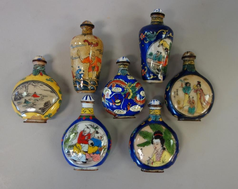 7 Chinese Enamel over Copper Snuff Bottles - 2