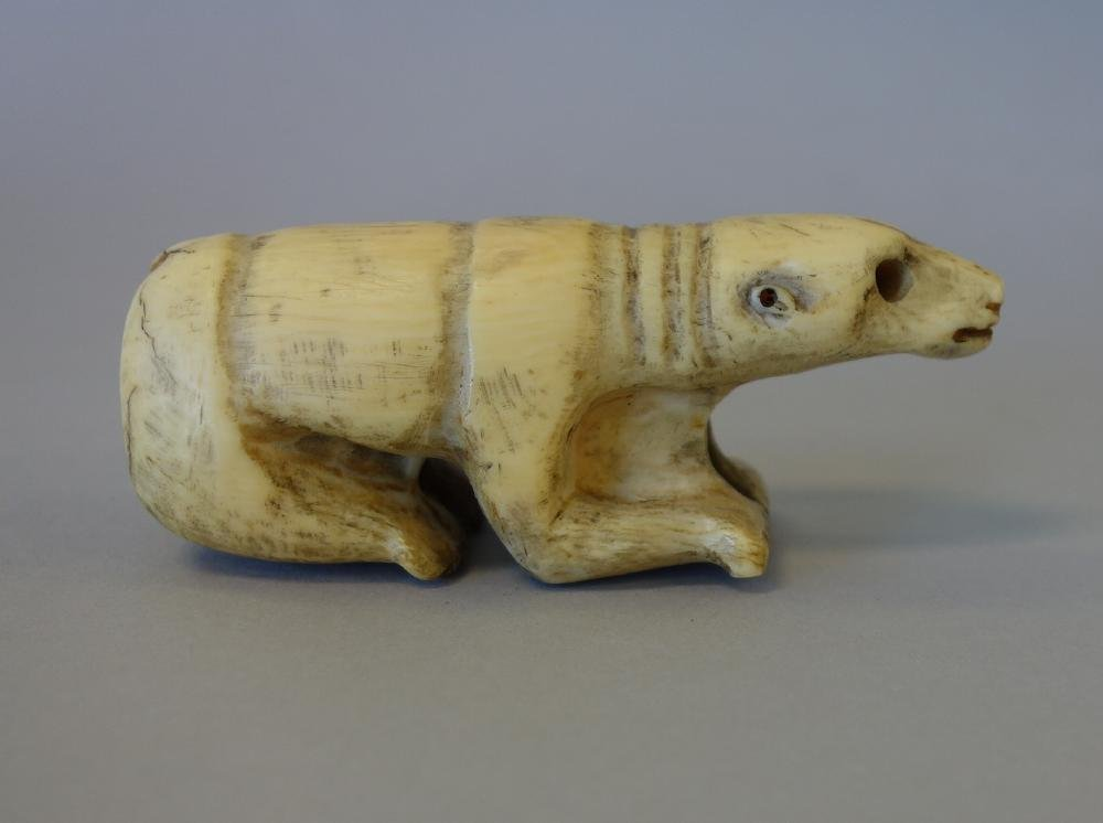 Fossilized Walrus Tusk, Polar Bear Carving