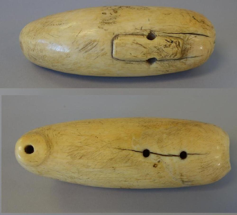 Fossilized Walrus Tooth Carving, Fishing Lure