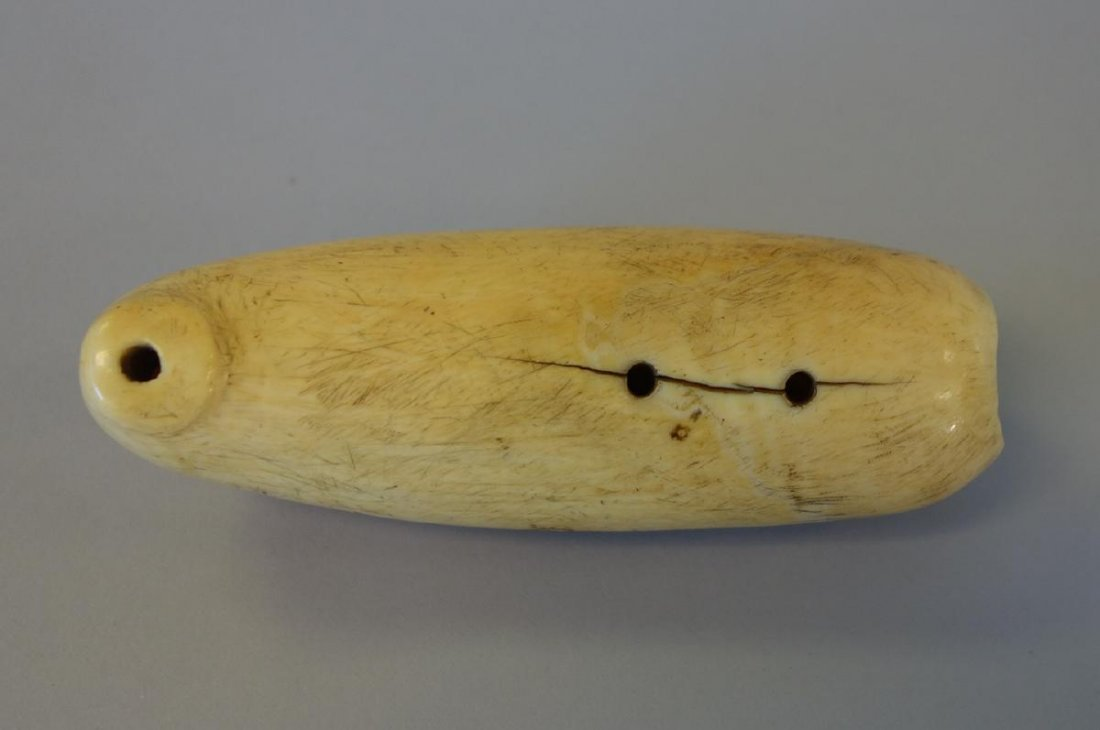 Fossilized Walrus Tooth Carving, Fishing Lure - 3