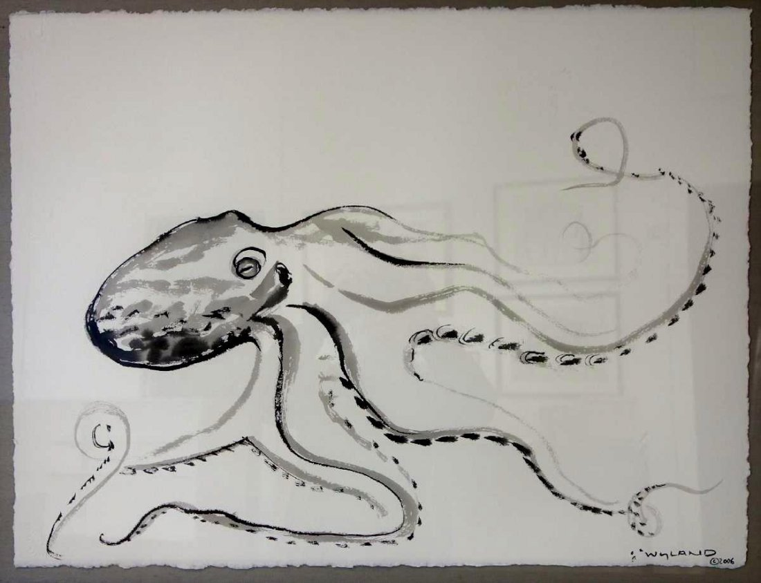 Robert Wyland (b-1956) Octopus, Sumi Ink Drawing