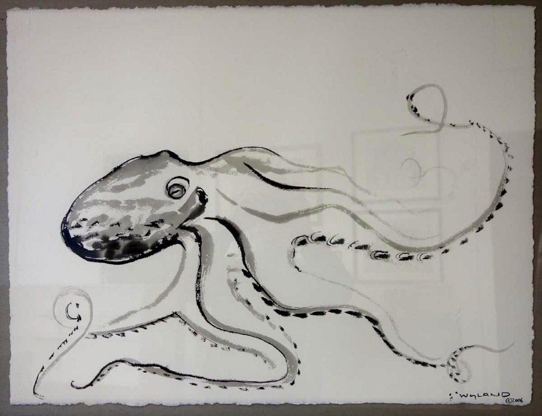 Robert Wyland (b-1956) Octopus, Sumi Ink Drawing