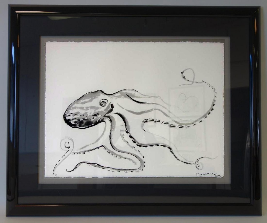 Robert Wyland (b-1956) Octopus, Sumi Ink Drawing - 2