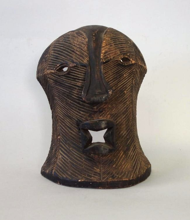 African Carved Wood War Mask, Congo
