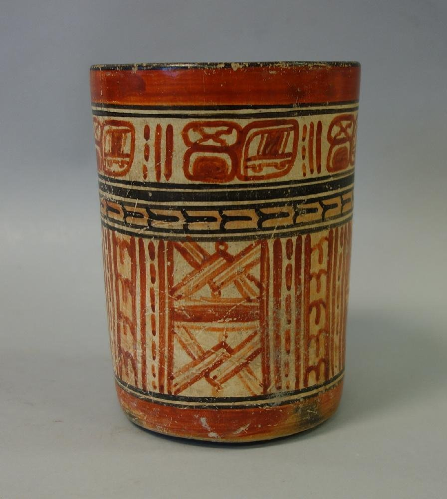 Mayan Polychrome Cylinder Vessel, 550-950 AD