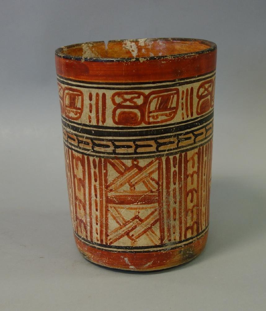 Mayan Polychrome Cylinder Vessel, 550-950 AD - 2