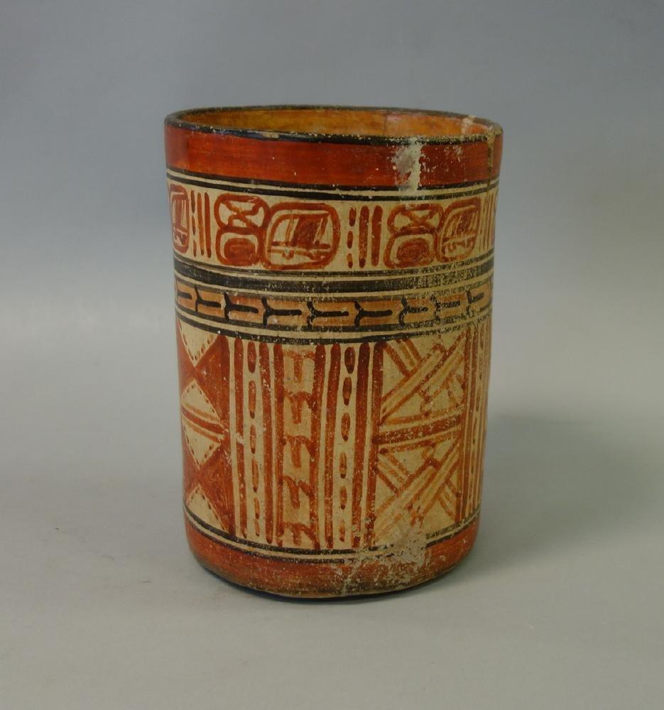 Mayan Polychrome Cylinder Vessel, 550-950 AD - 3