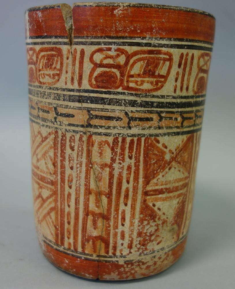 Mayan Polychrome Cylinder Vessel, 550-950 AD - 5