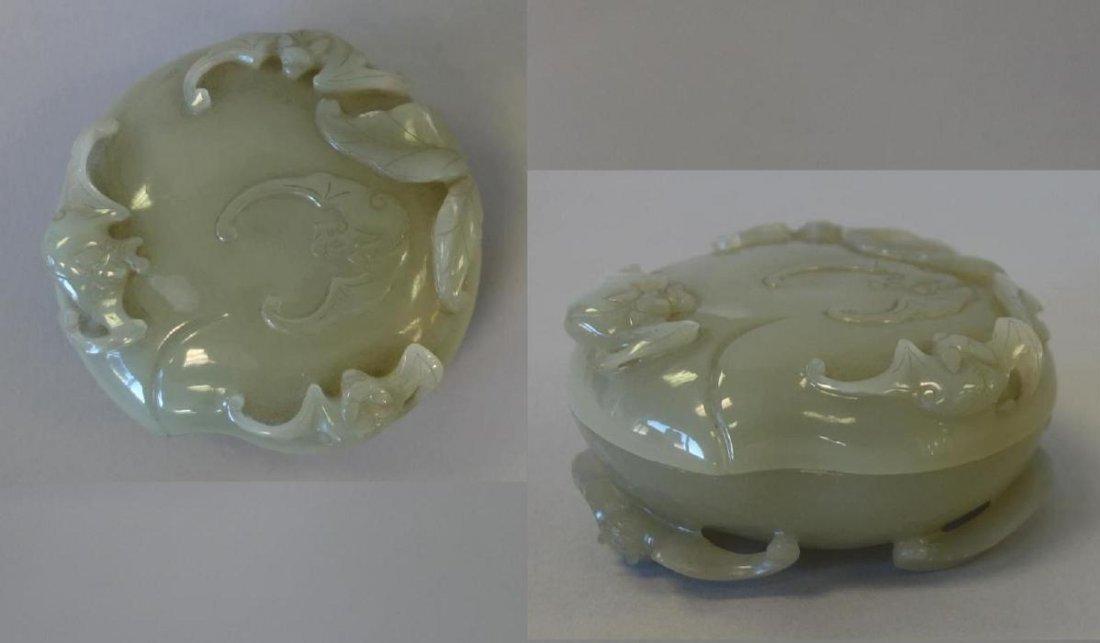 Chinese Celadon Jade, Seal Paste Box, Bat Motif