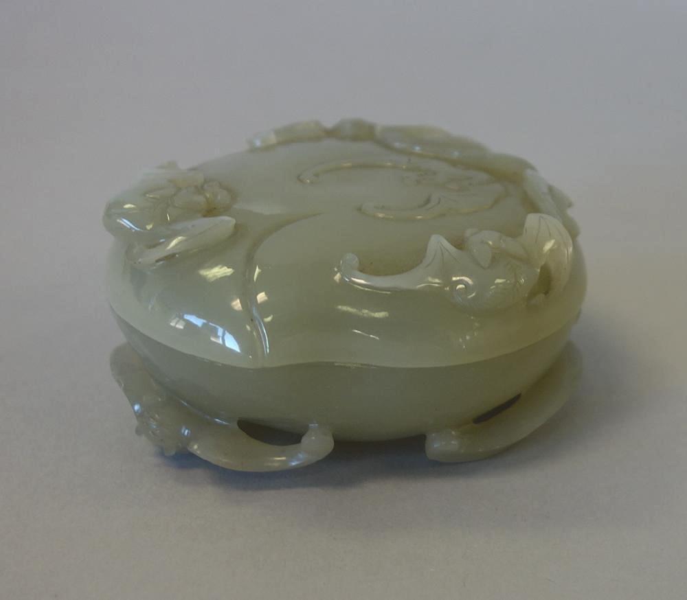 Chinese Celadon Jade, Seal Paste Box, Bat Motif - 2