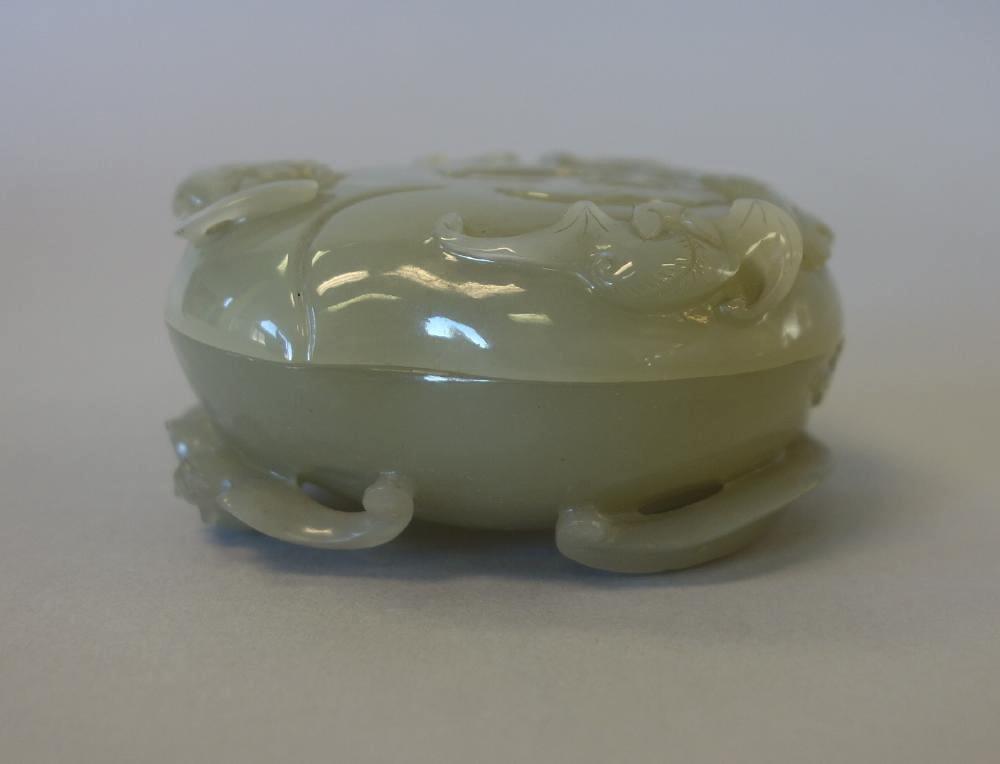 Chinese Celadon Jade, Seal Paste Box, Bat Motif - 4