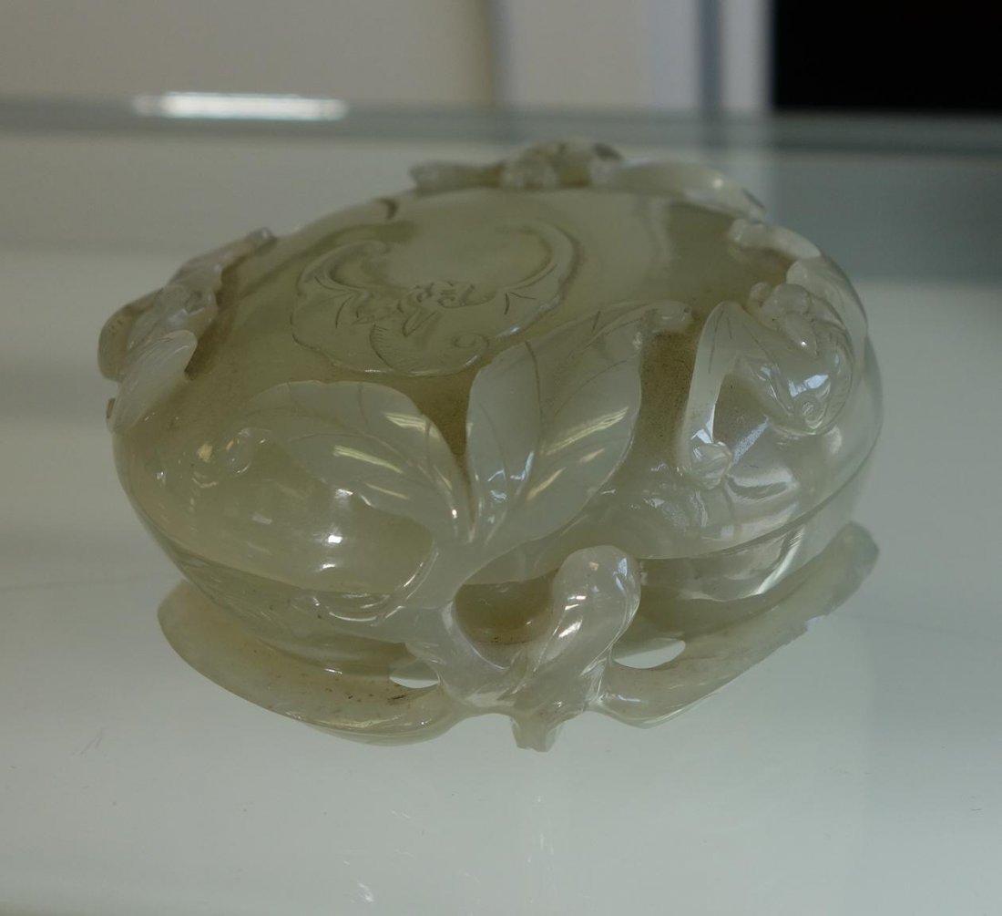 Chinese Celadon Jade, Seal Paste Box, Bat Motif - 8