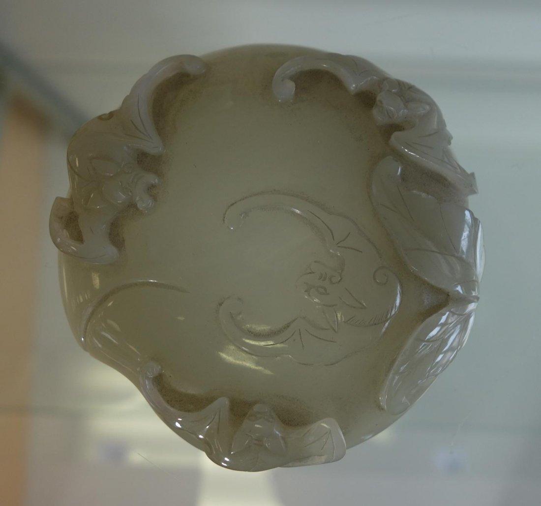 Chinese Celadon Jade, Seal Paste Box, Bat Motif - 9