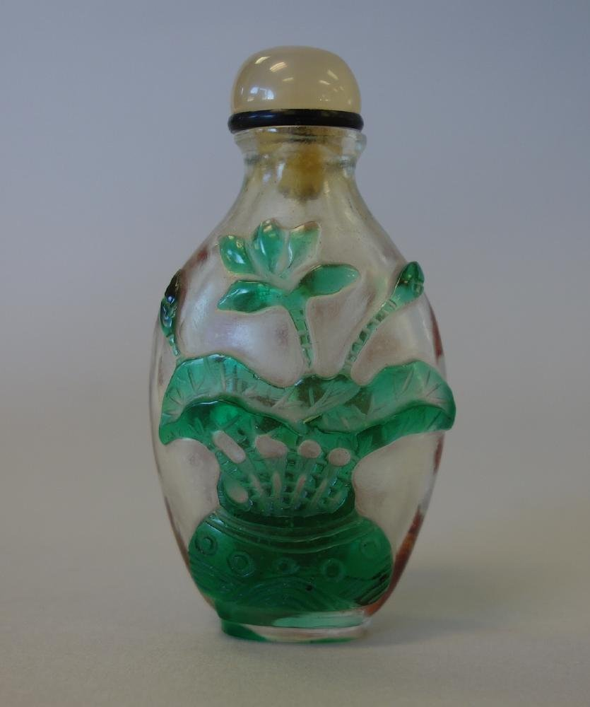 Chinese Overlay Cameo Glass Snuff Bottle - 2