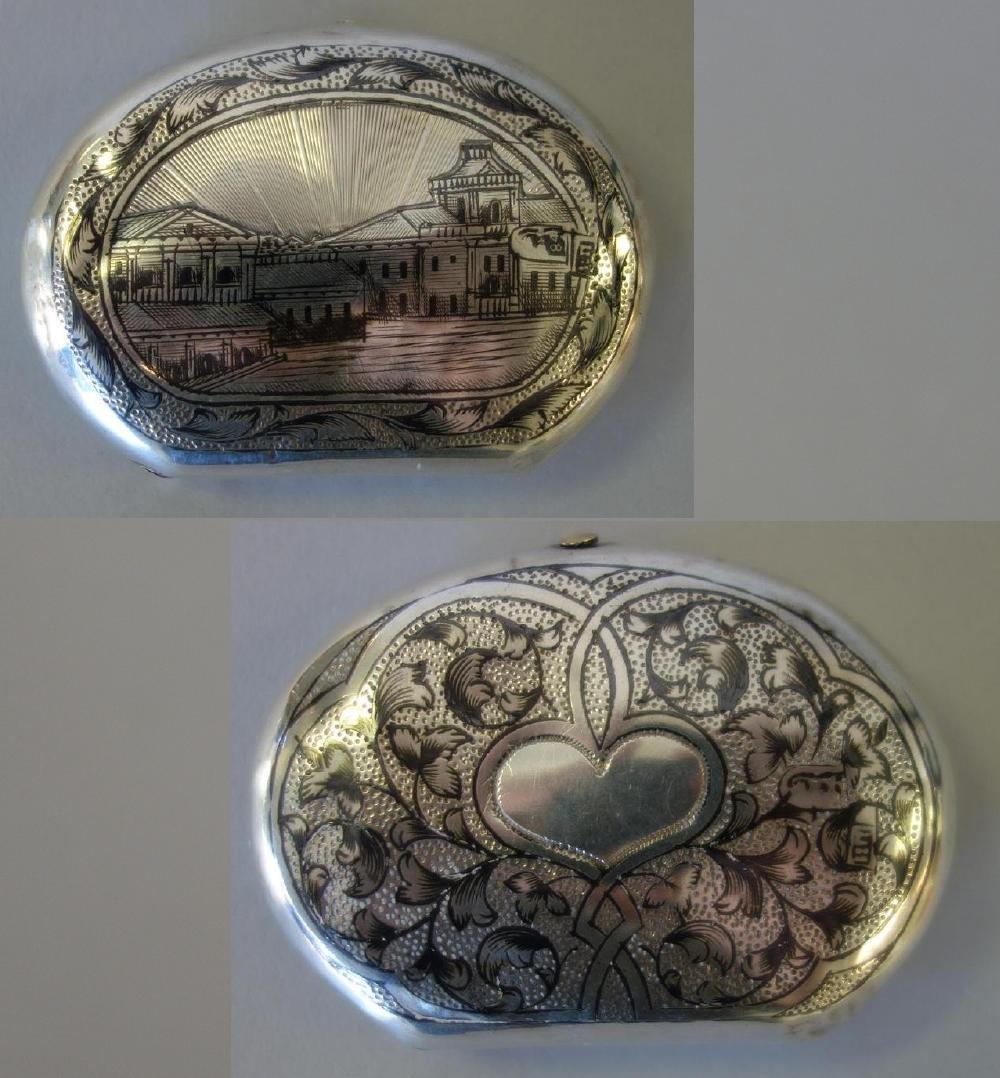 Russian Niello Silver Snuff / Pill Box, Signed