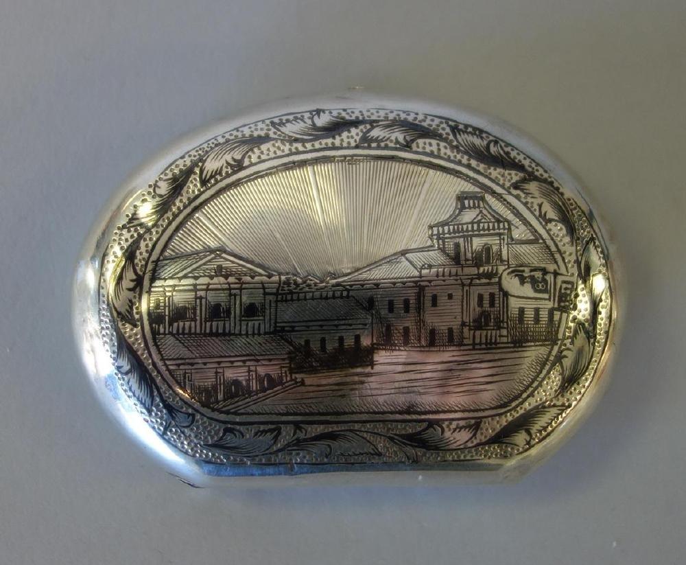 Russian Niello Silver Snuff / Pill Box, Signed - 2