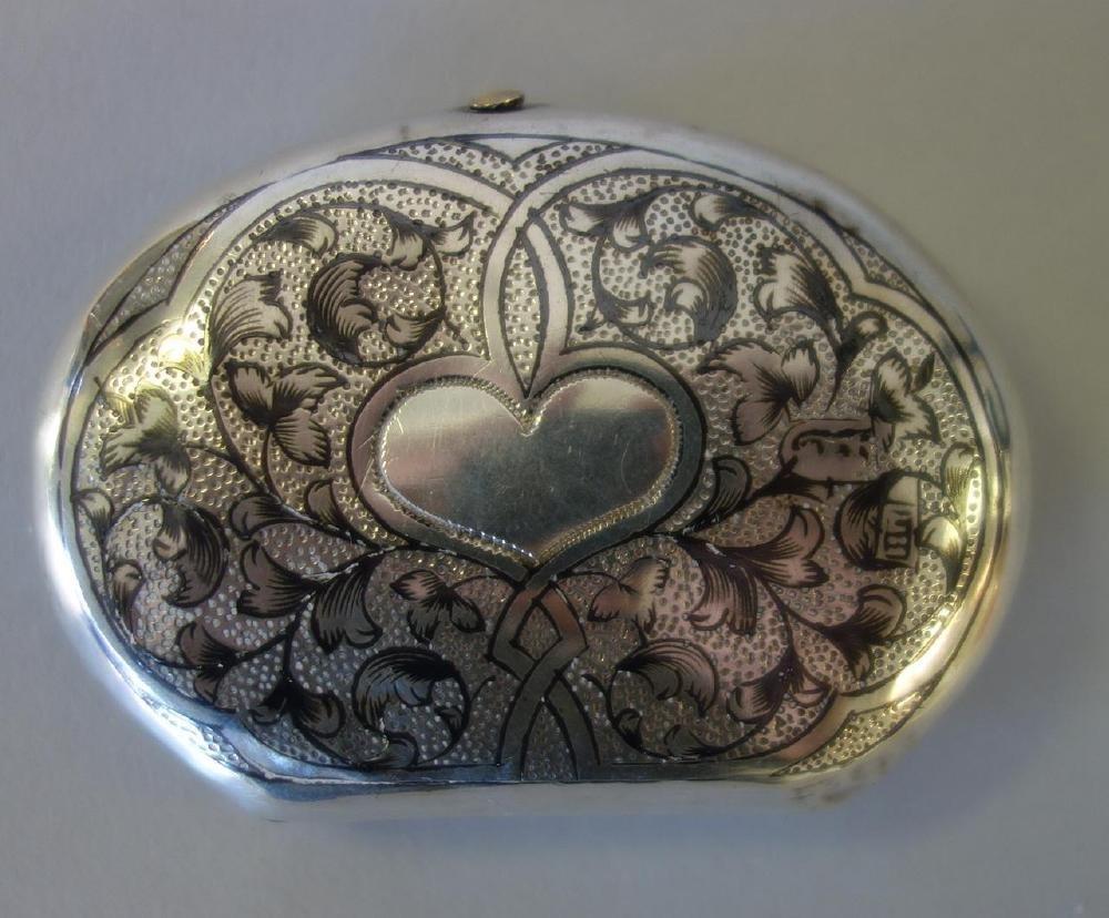 Russian Niello Silver Snuff / Pill Box, Signed - 3