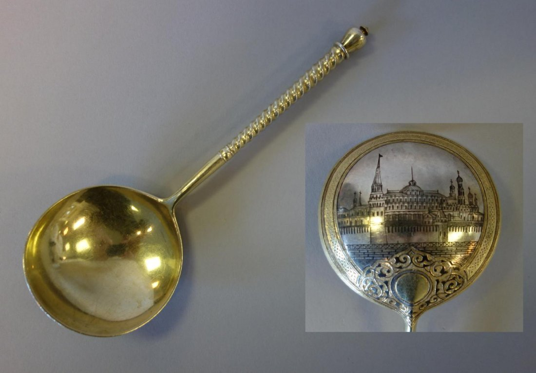 19thc Russian Gilt Sterling & Niello Serving Spoon