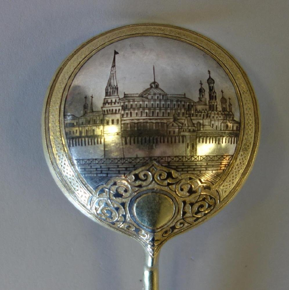 19thc Russian Gilt Sterling & Niello Serving Spoon - 3