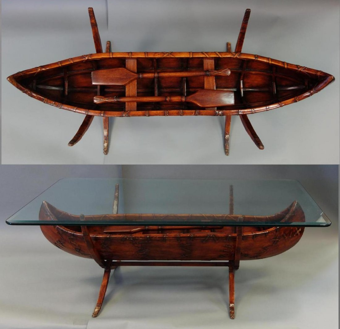 Timberlake Carved Wood Canoe Coffee Table