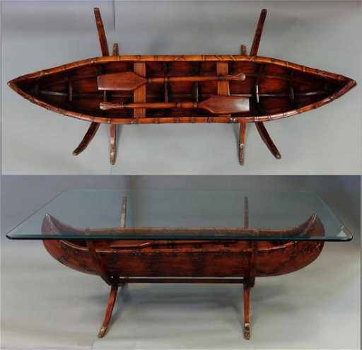 Bob Timberlake Carved Wood Canoe Coffee Table