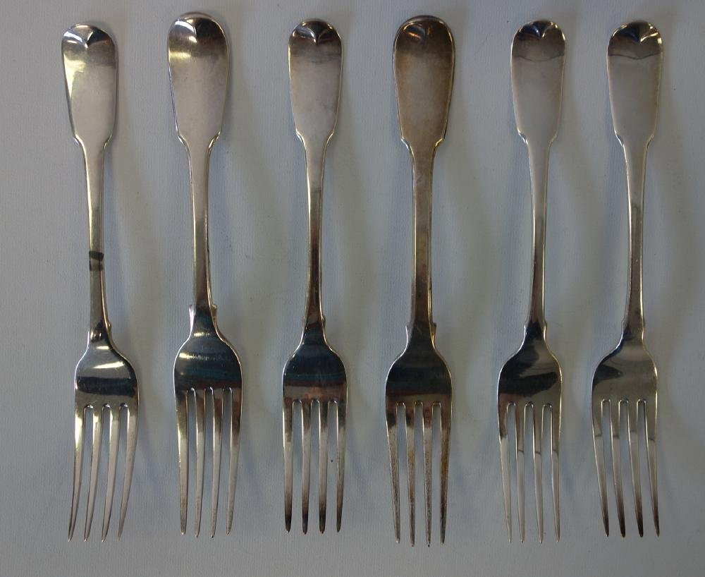 Georgian English Sterling Forks, London, Set of 6