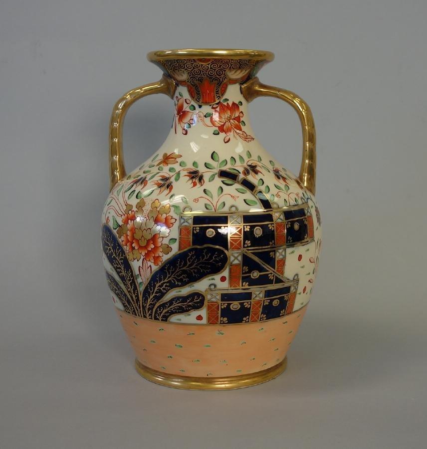 19thc English Porcelain Urn Vase, Imari Pattern