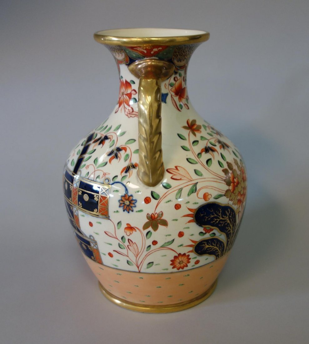 19thc English Porcelain Urn Vase, Imari Pattern - 4