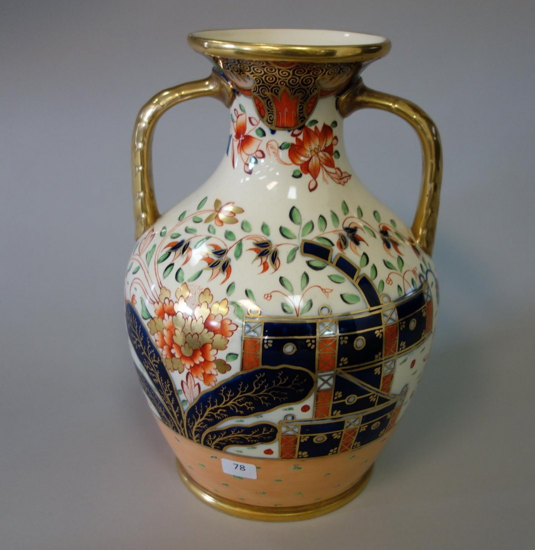 19thc English Porcelain Urn Vase, Imari Pattern - 5