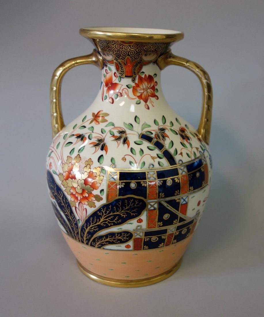 19thc English Porcelain Urn Vase, Imari Pattern - 6